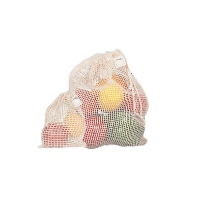 set of mesh bags with fruits